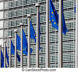 EU flags in front of berlaymont building - Flags of European...