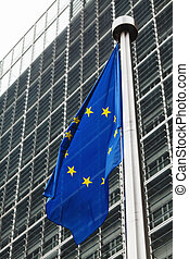 EU flags in front of berlaymont bui - Flags of European...