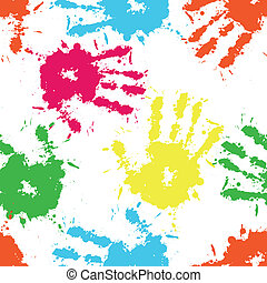 Seamless pattern - Print ink of hand of child, seamless cute...
