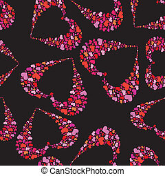 Abstract background with hearts. - Abstract black and red...
