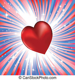 Abstract red heart like love to usa - Abstract red heart...