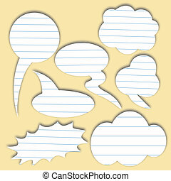 Paper speech bubble. Dialog cloud. Vector illustration....