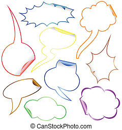 Set of Comic Clouds and bubbles as stickers.