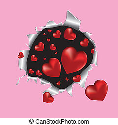Tear paper with hearts. Vector illustration.