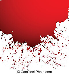 Vector illustration of black ink blot - Red drop ink...