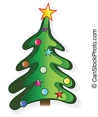 Icon christmas tree with star and ball, creative cartoon...