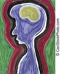 Abstract Profile of Brain and Person - Abstract painting of...