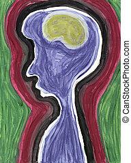 Extracto, perfil, cerebro, persona