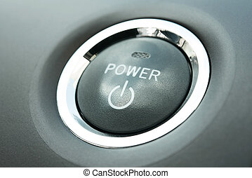 Power button in a  contemporary hybrid car