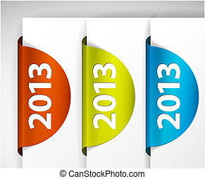 Vector 2013 round Labels Stickers on the edge of the web...