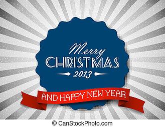 Simple vintage retro vector Christmas card