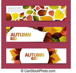 Fresh natural fall vector horizontal banners