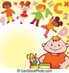 Childhood. - School childhood. Place for your text. Vector...