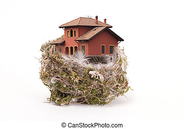 Birds nest with the hou - Birds nest withe the house on...
