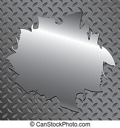 Metal texture with text, blank. - Vector blank metal texture...