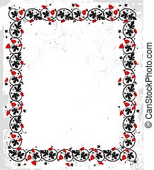 Flower frame - Poppy frame. Flower twisted vector...