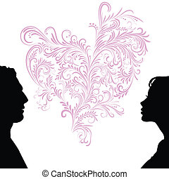 Man and woman faces silhouettes