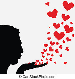 Silhouette man blowing heart - Profile man face, silhouette...
