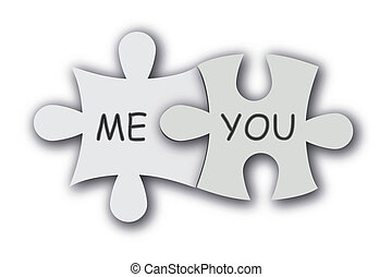 Jigsaw puzzle as love symbol. - Paper jigsaw puzzle as love...