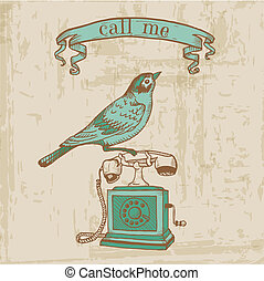Scrapbook Design Elements - Vintage Telephone with a Bird - in vector
