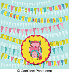 Happy Birthday Card with Cute Owl - in vector