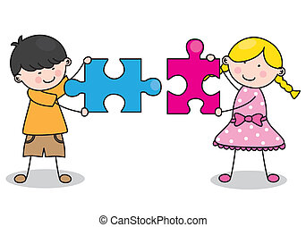 Child with puzzle pieces