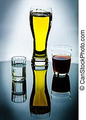 Vodka, beer, wine