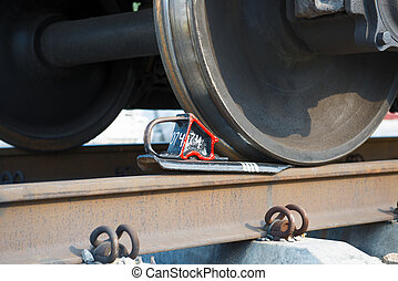 Train stopped - Wheels of train by close view