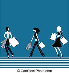 Shopping girls. - Shopping girl with bag. Beautiful woman...