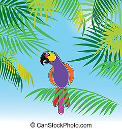 Tropical vector background with leaves of palm trees and parrot. Vector illustration.
