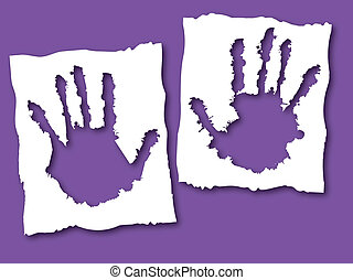Paper with hand hole, cute healthcare vector illustration....