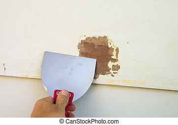 Scraping Old Paint - scraping old paint from siding with a...