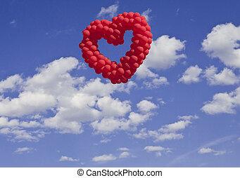 SÍMBOLOS, bexigas,  heart-shaped, céu, Amor