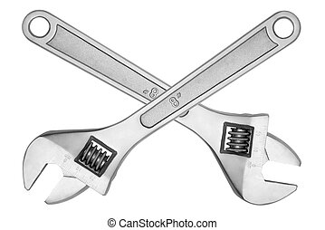 Two adjustable wrench crosswise, isolated on white