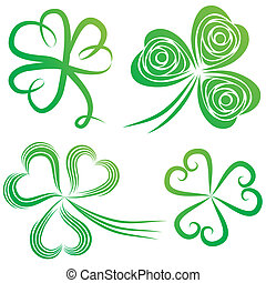 Set of shamrocks. - Set of green shamrock. Group of clover...