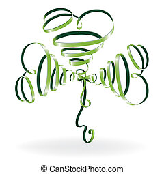 Abstract shamrock with ribbon, green creative clover. St...