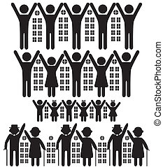 People, buildings - Abstract people, vector house, building...