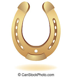 gold horseshoe as fortune symbol. Vector illustration....