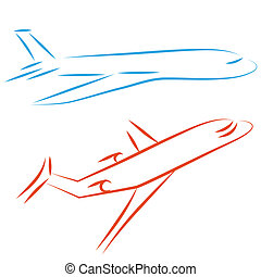 Flying airplane, vector illustration. - Flying vector...