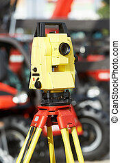 surveyor equipment theodolite at construction site