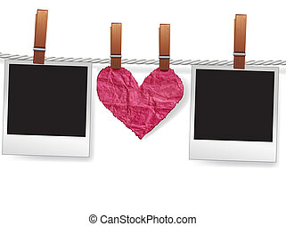 Photo frames and heart on rope - Love message by photo...