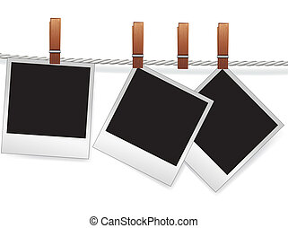 Photo frames on rope - Photo snapshot frames on rope for...