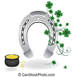 Horseshoe and four leaf clover lucky symbol. Vector...