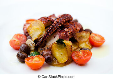 Grilled octopus with cherry tomatoes