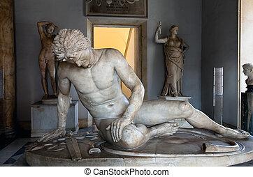 estátua, morrendo, gaul