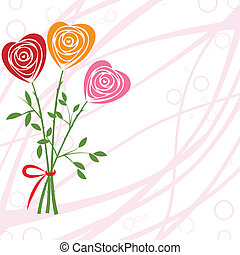 Flower background with rose like heart. - Art vector heart,...