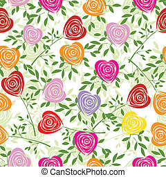 Flower background with rose like heart - Multicoloured art...
