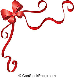 Greeting card template with ribbon and bow - Background...