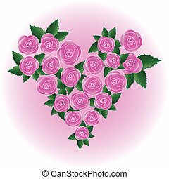 Pink vector rose heart - Pink art vector rose heart Flower,...