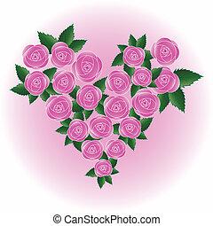 Pink vector rose heart - Pink art vector rose heart. Flower,...